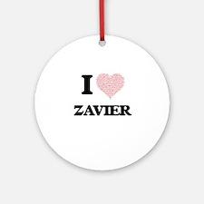 I Love Zavier (Heart Made from Love Round Ornament