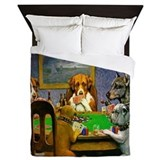 Dogs playing poker Duvet Covers