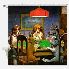 Dogs Playing Poker Shower Curtain