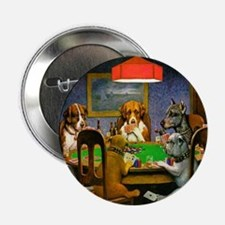 """Dogs Playing Poker 2.25"""" Button (10 pack)"""