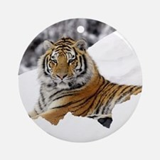 Tiger In Snow Round Ornament