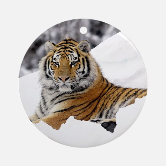 Tiger In Snow Round Ornament
