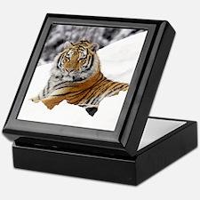 Tiger In Snow Keepsake Box