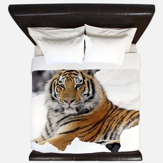 Tiger In Snow King Duvet