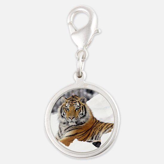 Tiger In Snow Charms