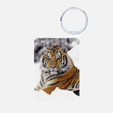 Tiger In Snow Keychains