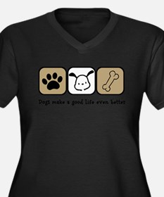 Unique Pets Women's Plus Size V-Neck Dark T-Shirt