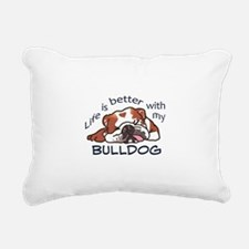 Better With Bulldog Rectangular Canvas Pillow