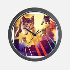 Laser Eyes Space Cats Flying T-Shirt Wall Clock