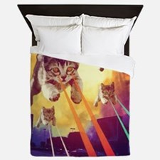 Laser Eyes Space Cats Flying T-Shirt Queen Duvet