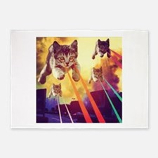 Laser Eyes Space Cats Flying T-Shir 5'x7'Area Rug