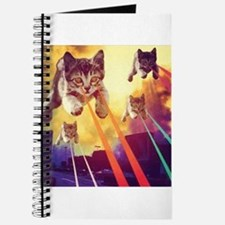 Laser Eyes Space Cats Flying T-Shirt Journal