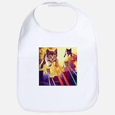 Laser Eyes Space Cats Flying T-Shirt Bib