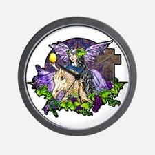 Gothic Cross And Fairy Eve Wall Clock
