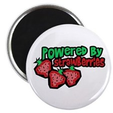 """Powered By Strawberries 2.25"""" Magnet (10 pack)"""