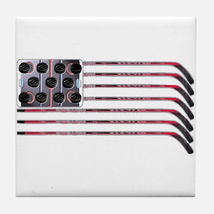 US Hockey Flag Tile Coaster