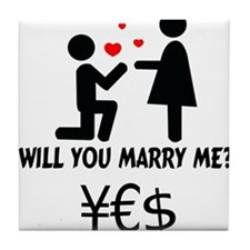 will you marry me Tile Coaster