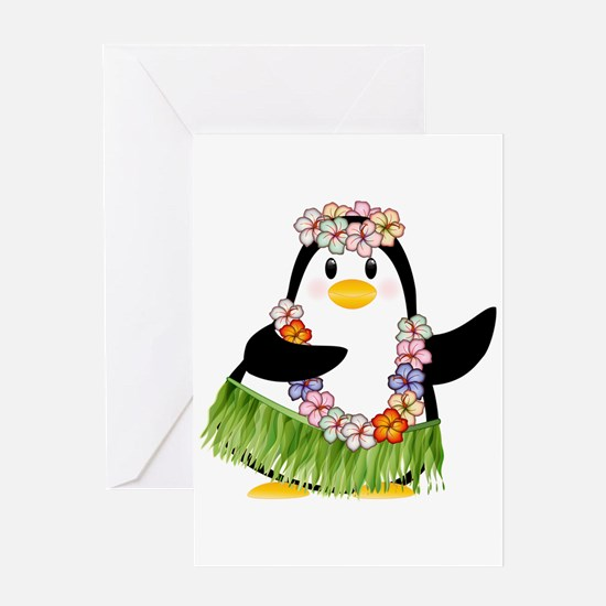 Tropical Penguin Greeting Cards