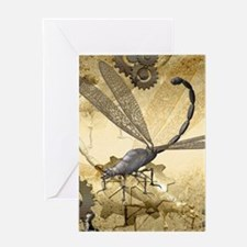 Steampunk, awesome steam dragonfly Greeting Cards