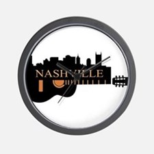 Nashville Guitar Skyline-05 Wall Clock