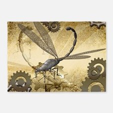 Steampunk, awesome steam dragonfly 5'x7'Area Rug