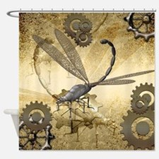 Steampunk, awesome steam dragonfly Shower Curtain