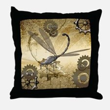Steampunk, awesome steam dragonfly Throw Pillow