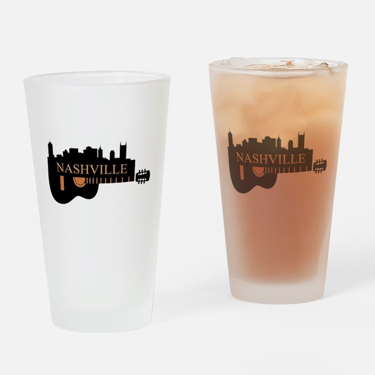 Nashville Guitar Skyline-05 Drinking Glass