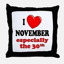 November 30th Throw Pillow