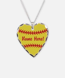 Cute Fast pitch softball Necklace Heart Charm