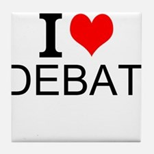 I Love Debate Tile Coaster