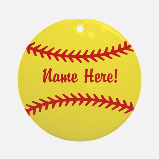 Softball Laces Personalized Round Ornament