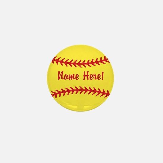Softball Laces Personalized Mini Button