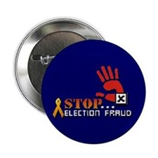 "Red Hand Stop Election Fraud Blue 2.25"" Button"