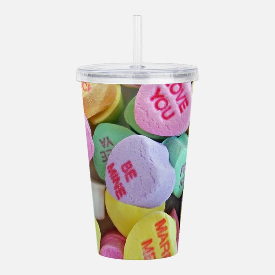 Candy Hearts Acrylic Double-wall Tumbler