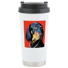 Cute Black and tan coonhound Travel Mug