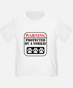 Warning Protected By A Yorkie T-Shirt