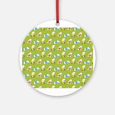 Polar Bear Triathletes Pattern Green Round Ornamen