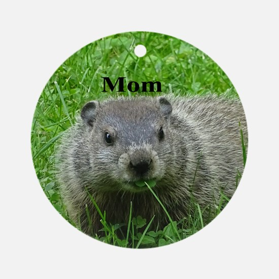 Woodchuck Eating Round Ornament
