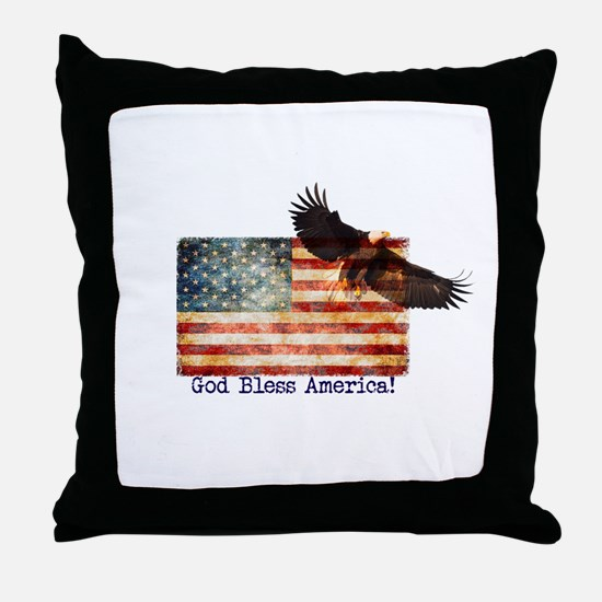 American Flag Eagle top right God Ble Throw Pillow