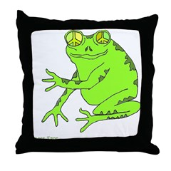 Peace Frog Throw Pillow