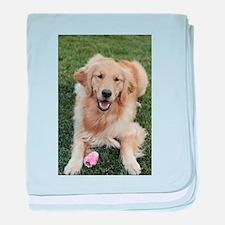 Nala the golden retroever dog baby blanket