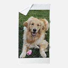 Nala the golden retroever dog Beach Towel