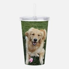Nala the golden retroe Acrylic Double-wall Tumbler