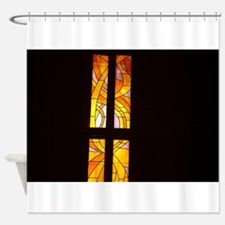 stained glass church wind Shower Curtain