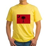 Black and Garnet South Carolina Flag Yellow T-Shir