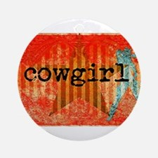 Cowgirl Paisley Round Ornament