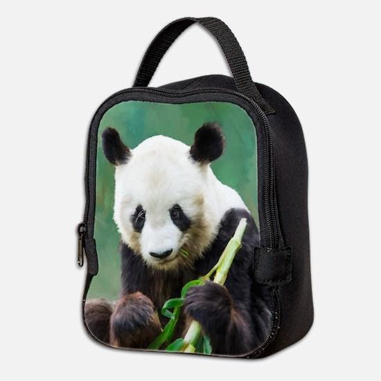 Painting Panda Bear Long Hui Neoprene Lunch Bag