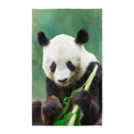 Painting Panda Bear Long Hui Area Rug