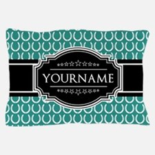 Teal and Black Horseshoe Personalized Pillow Case